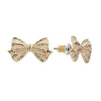 LC Lauren Conrad Gold Tone Striped Bow Button Stud Earrings