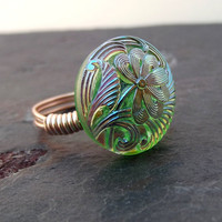 Spring Fashion Ring  Wire Wrapped Peridot by SherryKayDesigns