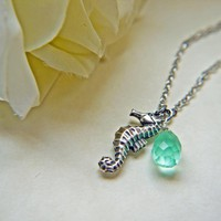 Antique Silver Seahorse Necklace With Aqua Teardrop Briolette. Marine. Nautical. Summer