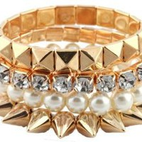 Ladies Gold Bundle Stretch Bracelet with Spikes, Pyramids, Pearls and Stones: Jewelry: Amazon.com