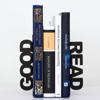 Modern  bookends - Good read - for home or public library, black, laser cut from metal thick enough to hold a bunch of books