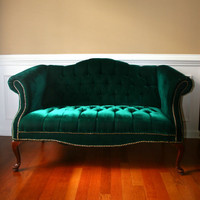Emerald Chesterfield Love Seat Settee Couch by RhapsodyAttic