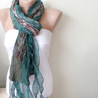Hand Dyed GREEN Emerald green Color Scarf from 100 coton by Periay