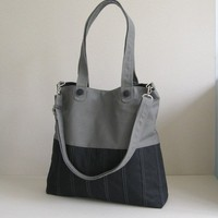 Sale 10% - Black/Grey Canvas Bag, tote, purse, everyday bag, messenger bag, adjustable Strap