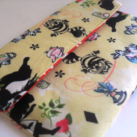 Padded  Envelope Case for Ipad 1, 2 or 3 / Alice in Wonderland Fabric