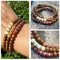 Beaded Gemstone and Wood Stretch Boho Stacker Bracelets - Red, Orange and Yellow - Chakra Bracelets