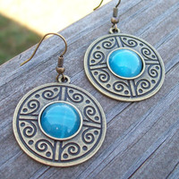 Wishing Well - Gypsy Turquoise Blue Cats Eye Drop Bronze Medallion Earrings