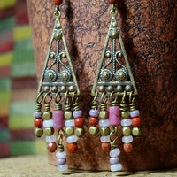 Art Nouveau Chandelier Gypsy Beaded Earrings