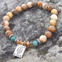 Protection, Truth and Virtue Stretch Meditation Bracelet -  Fish Charm with Picture Jasper, African Jade and Glass Topaz