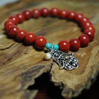 Jasper Meditation Bracelet with Hamsa Hand Charm    -    Balance and Protection