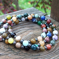 Mixed Gemstone and Hemalyke Stackable Stretch Bracelets - Pile em' On Boho Stackers