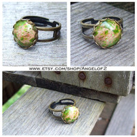 Green Imperial Jasper Double Band Adjustable Brass Ring