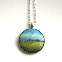 Field of Flowers,  Hand Painted  Art Necklace, Landscape Painting, Jewelry, Miniature Wood Art, Pendant, Long Chain