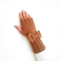 Knitting fingerless gloves with cute bows in brown, mothers day gifts, gift for her
