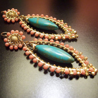 Z h a n a - 14k gold filled -coral and tuquoise-  wire wrapped - dangle earrings