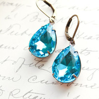 Blue Glass Earrings, Aqua Blue Dangle Earrings, Drop Rhinestone, Antique Brass, Vintage Style Teardrop, Modern Accessories, Lever back