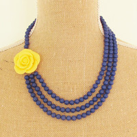 Navy Blue Asymmetrical Statement Necklace - Yellow Ruffled Rose Flower Multi Strand Navy Blue Jade Beaded Necklace Wedding, Bridesmaid