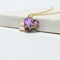 Gold filled Necklace Vitrail Light Purple by LovelyJewelsBoutique