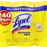 Lysol Disinfecting Wipes, Lemon and Lime Blossom, 80 Wet Wipe Containers, 3 Count, Total 240 Count