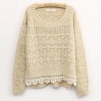 Beige Sweet Vintage Hollow Short Sweater