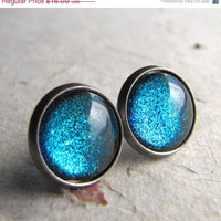 Turquoise Blue Glitter Earrings Antiqued Silver by AshleySpatula