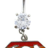 Crystal CZ Dangle Belly Button Navel Ring Bar Silver - Gay Pride in Rainbow Superman Emblem Parody
