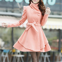 Khaki / Orange /Green/ Pink  wool women coat women dress coat Apring Autumn Winter --CO062 ($88.99)