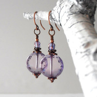 Purple Glass Dangles Rustic Beaded Earrings Handmade Vintage Style Jewelry Antiqued Copper Dusky Purple