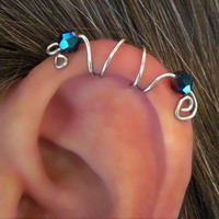 "No Piercing Cartilage Ear Cuff ""Seahorse"" Handmade Color Choices"