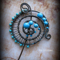 Sea Foam Wire Wrapped Hammered Oxidized Penannular by Lirimaer