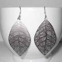 Delightful - Dangle Leaf Earrings in Silver - Perfect Gift - morganprather