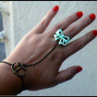 anchor and bow slave bracelet <3