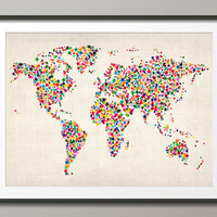 Stars Map of the World Map, Art Print 18x24 inch (116)