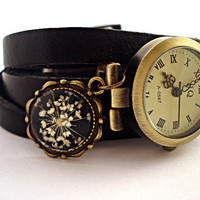 WrapWatch with Real Dried Flowers - working bronze wrist watch, genuine leather with real dried flower charm antique style