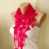 Pink Fuchsia Cotton Scarf with Lace by Periay on Etsy