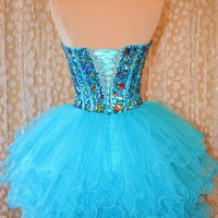 Cute Mini Blue Prom Dress/Homecoming Dress