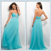 Glamorous blue chiffon formal the prom dress / evening dress