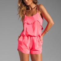 Karina Grimaldi Raffaela Solid Romper in Neon Pink from REVOLVEclothing.com