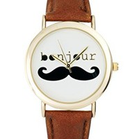 ASOS Bonjour Moustache Watch - Brown