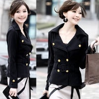 Cool Lapel Double Breasted Tunic Womens Coat Suits Top