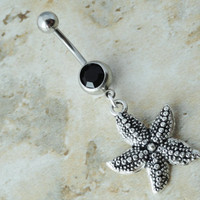 Starfish Belly Button Ring Black Crystal Belly Piercing