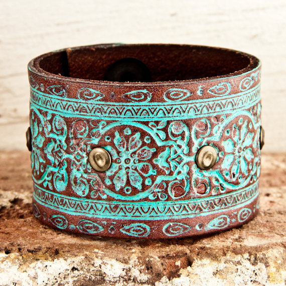 Retro Fashion Vintage Leather Wristband by rainwheel on Etsy