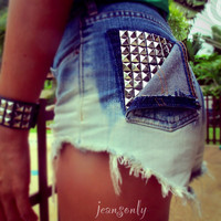 Vintage high waisted denim shorts,studded ombre cut off shorts by Jeansonly