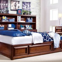 Previn Cherry Full Size Platform Captain's Bed