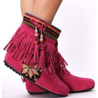 NEW! FUCSHIA Tribal Fringe Ankle Boots Moccasin Indian Booties Aztec Rustic Pink