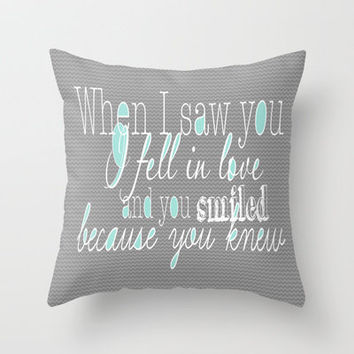 When I Saw You (Mint) Throw Pillow by Beth Thompson | Society6