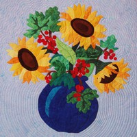 Quilted Wall Hanging  Summer Sunflowers Leaves  and by nhquiltarts