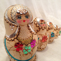 Russian Hand painted Nesting Dolls MADE IN RUSSIA, Signed by Artist