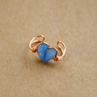 Blue Jade and Copper Wire Wrapped Ear Cuff
