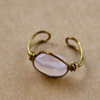 Rose Quartz Bronze Color Wire Wrap Ear Cuff